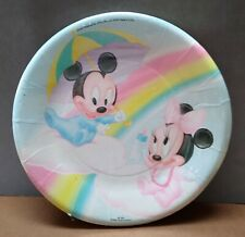 Vintage Mickey and Minnie Mouse Baby Shower Plates 8 Ct Dessert 1984 Boy Girl 7""
