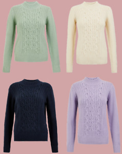 Ex M*S Cotton Cable Knit Relaxed Jumper 4 Colours Size 6 - 24 (C2)