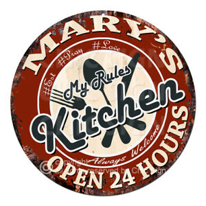 CWMK-0001 MARY'S KITCHEN Rules Sign Mother's Day Christmas Gift Ideas For Woman