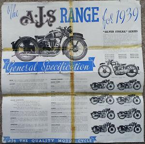 AJS Motorcycle Brochure Poster 1939 Silver Streak etc Original damaged repaired