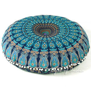 "32"" Round Blue Mandala Meditation Cushion Yoga Floor Pillow Cover Seating Throw"