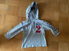 Pullover Sweat Mit Kapuze Langarmshirt Gr. 86/92 H&M Grau/Weiß Gestreift Top