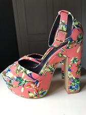 RIVER ISLAND Ladies Women Platform High Heel Shoe Sandal Coral Floral Size 7 40
