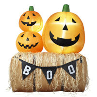 HALLOWEEN THANKSGIVING PUMPKIN FAMILY HAY BALE BOO  INFLATABLE AIRBLOWN 6 FT