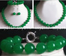 6-14mm Natural Green Jade Gemstone Round Beads Necklace Bracelet Earrings Set