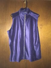 New Susan Graver Weekend Sapphire Velour Vest XL