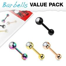 316L Surgical Steel Ion Plated Tongue Ring Barbell With CZ Set Ball Top 4 Pack