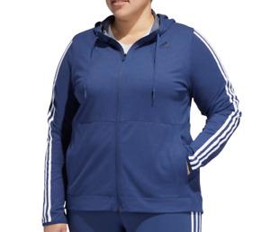 Adidas Womens Plus Hoodie Authentic 3 Stripe Gym Training Full Zip Blue Size 1X