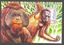 Malaysia -Orang Utan Ape - Monkey - Protected mammals - Mnh Block S/S
