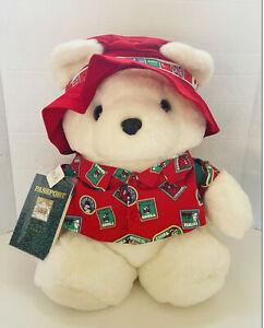 Santa Bear Plush 1993 World Traveler Christmas Teddy Backpack Passport Large