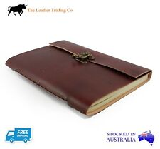 A5 Plain Brown Leather Cover Travel Journal Brass Lock and Handmade Paper