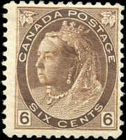 1898 Mint H Canada F Scott #80 6c Queen Victoria Numeral Issue Stamp