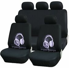 TRUYOO 9PC Universal Racing Style Car Seat Cover Protector Set Headphone