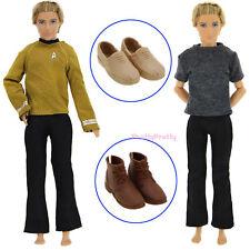 4 Pcs = 2 Men Outfit Shirt Trousers + 2 Shoes Clothes For Barbie Ken Doll Gift