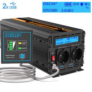 EDECOA Convertisseur 2000W 4000W 12V 220V Pur Sinus Onduleur LCD USB Camping