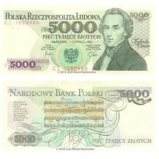 Poland 5000 (5,000) Zlotych 1982 Chopin P-150a Banknotes UNC