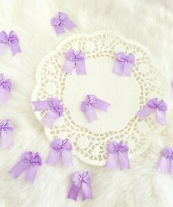 Lavender Bows Purple Satin Bows Sewing Applique Small Craft Bows Doll Gift Tag