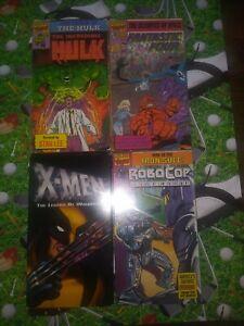 Marvel Video Cartoon VHS Lot Fantastic 4 Incredible Hulk Wolverine Robocop
