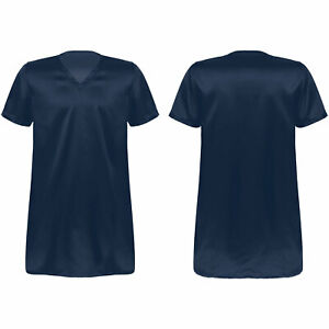 Men Nightshirt Satin Nightwear Comfy V Neck Short Sleeve Loose Pajama Sleepshirt