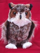 """Plush Great Horned Owl Stuffed Animal Toy 10"""" By Douglas Cuddle Toys"""