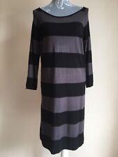 Next Sp Womens Tunic Jumper Dress Size 16 Grey Black Striped 3/4 Sleeved
