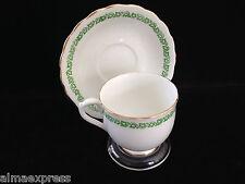 English Castle Staffordshire England China Green Ivy - TEA CUP & SAUCER SET