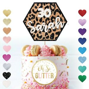 Personalised Leopard Print Cake Topper Glitter Cake customised Name Any Age 30th