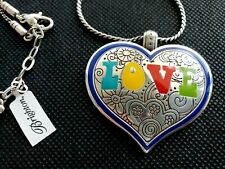 BRIGHTON Large Enamel Heart Silver Necklace NEW