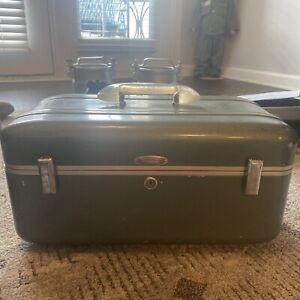Vtg Halliburton Aluminum Cosmetics Train Case Suitcase Modern Industrial Luggage