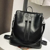 Womens Casual Solid Color Backpack Ladies PU Leather Zipper Large Shoulder Bag