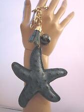Schlüsselanhänger Taschen Anhänger See Stern Quaste Perle Gold Petrol Kunstleder