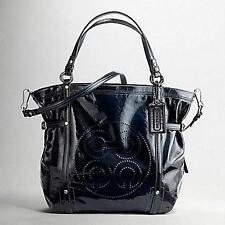 Coach Audrey NAVY Blue Patent Leather Andie Cinched Shoulder Bag Purse Tote WOW
