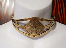 ETCHED GEOMETRIC GOLDEN COLLAR royal tribal choker necklace bohemian boho new 4Z