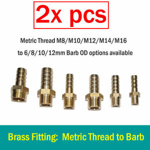 2X Brass Metric Thread M8/M10/M12/M14 to Hose Barb 6/8/10/12mm Fitting Adapter