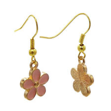 1 Pair Pink Enamel Metal Mini Flower Charm Drop Dangle Hook Earrings Jewelry