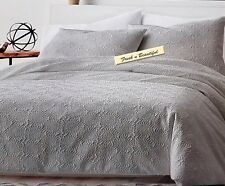 DKNY Microsculpt Matelasse Textured Taupe Gray Floral Full/Queen Duvet/Shams Set