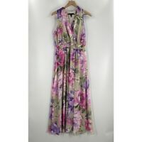 Maggy London Womens Purple Green Floral V Neck Sleeveless Maxi Dress 12