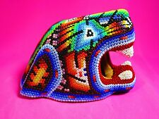 HUICHOL BEADED FIGURE JAGUAR PEYOTE MULTICOLOR MEXICO FOLK ART SACRED HANDMADE
