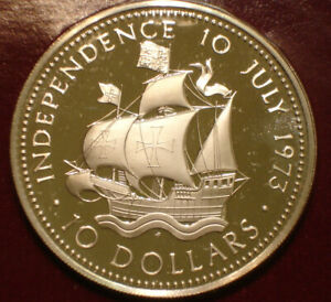 1973 Silver Ten Dollars $10 of Bahamas GEM PROOF 1.5 oz INDEPENDENCE DAY