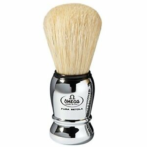 Omega Pure Bristle Shaving Brush Chrome Plastic Professional ABS Handle