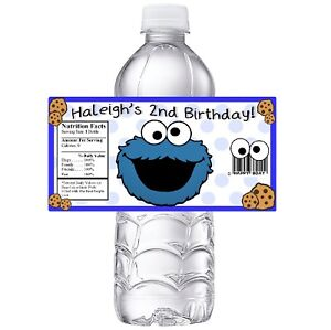 20 COOKIE MONSTER PERSONALIZED BIRTHDAY PARTY FAVORS WATER BOTTLE LABELS