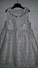 Girls occaision dress Camilla age 4-5yrs ivory & silver with beaded collar