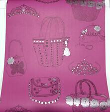 3 Rollen Tapete Kids Wallpaper 10751 Handtaschen, Kronen Pink-Schwarz glänzend