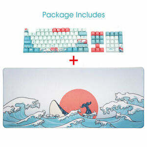 Coral Sea PBT Dye Sub Keycaps + Gaming Mouse Pad Mat Kit For Mechanical Keyboard