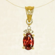 NATURAL GARNET PENDANT REAL 9K 375 GOLD GENUINE DIAMONDS JANUARY BIRTHSTONE NEW