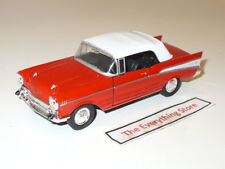 """Welly 1957 Chevy Bel Air Convertible Top Up Bright Red 4.75"""" Long Free Ship"""
