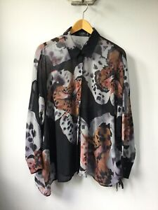 Gorgeous Ladies Religion Black Patterned Blouse, UK Size 12, Good Condition