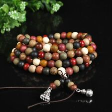 Prayer Beads Buddha Mala Tibetan Buddhist Wooden Redwood Charm Bracelet Rosary
