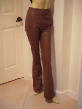 ***GORGEOUS * NEW*  GIANFRANCO FERRE OLIVE GREEN LEATHER PANTS W/ WHIP STITCHING