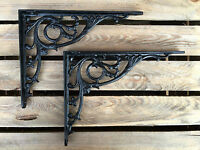 "Pair Black 10x8"" ANTIQUE HEAVY CAST IRON VICTORIAN SHELF WALL BRACKETS BR28bx2"